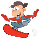 Illustration of Cute Boy Snowboarding. Cartoon Character Stock Photography