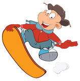 Illustration of Cute Boy Snowboarding. Cartoon Character Royalty Free Stock Images