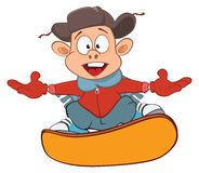 Illustration of Cute Boy Snowboarding. Cartoon Character Royalty Free Stock Photography