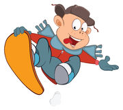 Illustration of Cute Boy Snowboarding. Cartoon Character Stock Image