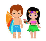 Illustration of cute boy with surfboard and Hawaiian girl with cocktail. Stock Photography