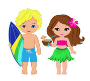 Illustration of cute boy with surfboard and Hawaiian girl with cocktail. Royalty Free Stock Photos