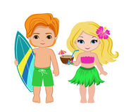 Illustration of cute boy with surfboard and Hawaiian girl with cocktail. Royalty Free Stock Images