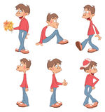 Illustration of a Cute Boys for you Design. Cartoon Character. Set of various teenagers in a red sweater Stock Image