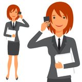 Illustration of cute business lady in suit Stock Photo