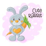 Illustration of cute cartoon bunny with a carrot. Vector royalty free illustration