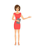 Illustration of cute cartoon business woman in a red dress with a folder Stock Photography