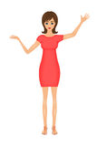 Illustration of cute cartoon business woman in a red dress Stock Image