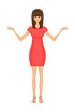 Illustration of cute cartoon business woman in a red dress Stock Photo