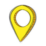Illustration of Cute Cartoon Doodle of 3D Map Pointer Icon. EPS8. Stock Image