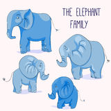 Illustration of Cute cartoon elephant family Stock Photos