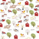 Illustration of cute cartoon farm background vector Stock Photo