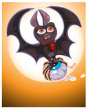 Illustration of Cute Cartoon Halloween bat  flying Royalty Free Stock Images
