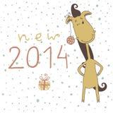 Illustration of a cute cartoon horse. Christmas an Stock Photography