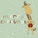 Illustration of a cute cartoon horse. Christmas an Stock Photos