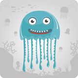 Illustration of cute cartoon jellyfish Stock Photography