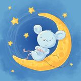 Illustration of a cute cartoon mouse. On the moon night sky and stars. Vector royalty free illustration