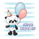 Illustration of a cute cartoon panda with. Balloons royalty free illustration