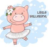 Illustration of a cute cartoon pig on a blue background. Vector vector illustration