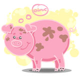 Illustration with cute cartoon pig. Vector illustration with cute cartoon pig and speech bubble Stock Image