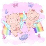 Illustration of cute cartoon pigs on a rainbow. Background. Print for clothes or childrens room vector illustration