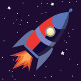 Illustration of a cute cartoon rocket space ship isolated on starry background Stock Photo