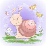 Illustration of cute cartoon snail flowers and butterflies. Vector stock illustration