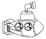 Submarine monochrome cartoon. Illustration of a cute cartoon submarine in black and white outline vector illustration