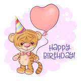 Illustration of a cute cartoon tiger cub with balloons. Vector royalty free illustration