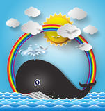 Illustration of cute cartoon whale. Royalty Free Stock Photos