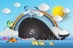 Illustration of cute cartoon whale. Stock Image