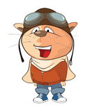 Illustration of a Cute Cat Aircraft Pilot. Cartoon Character Stock Image