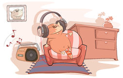 Illustration of a Cute Cat Audiophile. The red thick cat listens to music stock illustration