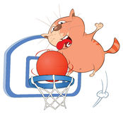 Illustration of a Cute Cat Basketball Player Royalty Free Stock Image