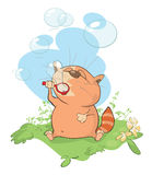 Illustration of a Cute Cat Blowing Bubbles Royalty Free Stock Photos
