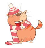 Illustration of a Cute Cat. Cartoon Character Royalty Free Stock Photo