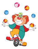 Illustration of a Cute Cat Clown Juggler . Cartoon Character Stock Photography
