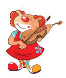 Illustration of a Cute Cat Clown Violinist. Cartoon Character Royalty Free Stock Image