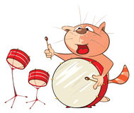 Illustration of a Cute Cat Drummer. Cartoon Character Stock Images