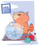 Illustration of a Cute Cat and a Fish Aquarium Royalty Free Stock Photography