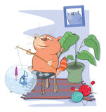 Illustration of a Cute Cat Fisherman. Cartoon Character Stock Photo
