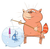 Illustration of a Cute Cat Fisherman. Cartoon Character Stock Photography