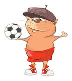 Illustration of a Cute Cat Football Player. Cartoon Character Stock Photography