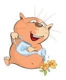 Illustration of a Cute Cat  Gardener . Cartoon Character Royalty Free Stock Photos