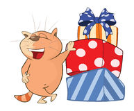 Illustration of a Cute Cat and Gifts . Cartoon Character Royalty Free Stock Photos