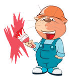 Illustration of a Cute Cat House Painter. Cartoon Character Royalty Free Stock Images