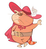 Illustration of a Cute Cat. King's Musketeer. Cartoon Character Royalty Free Stock Photography