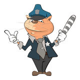 Illustration of a Cute Cat Police Officer. Cartoon Character Royalty Free Stock Photo