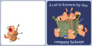 Illustration of a  Cute Cat. Postcard. Card with cheerful red cats Stock Photo