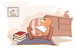 Illustration of a Cute Cat is Reading a Book Royalty Free Stock Photography